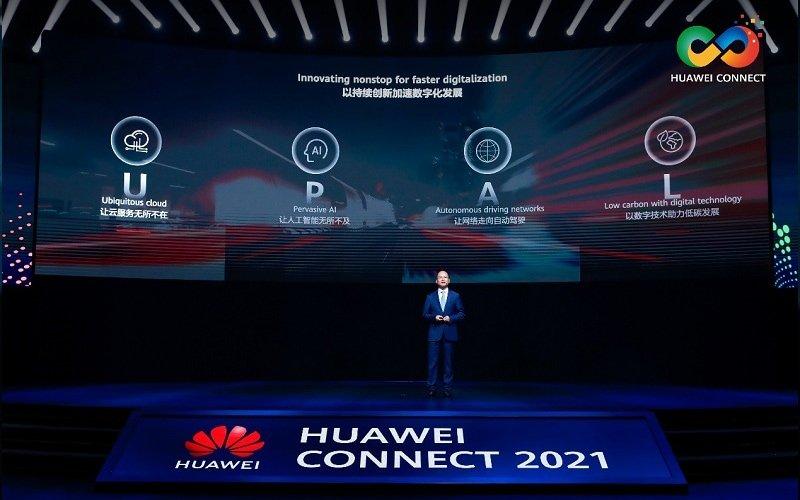 Eric Xu, rotacyjny prezes Huawei, podczas wystąpienia na Huawei Connect 2021.