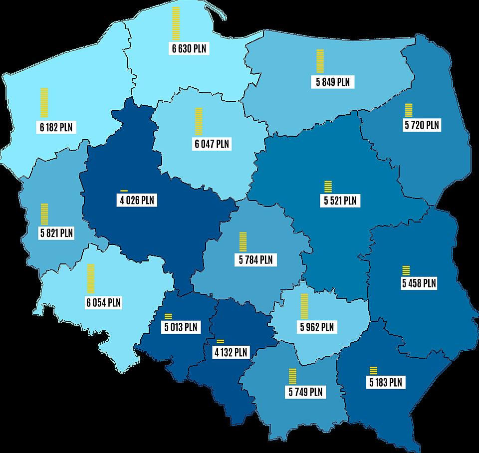 Średnia wartość  rezerwacji w regionach (Wakacje.pl)
