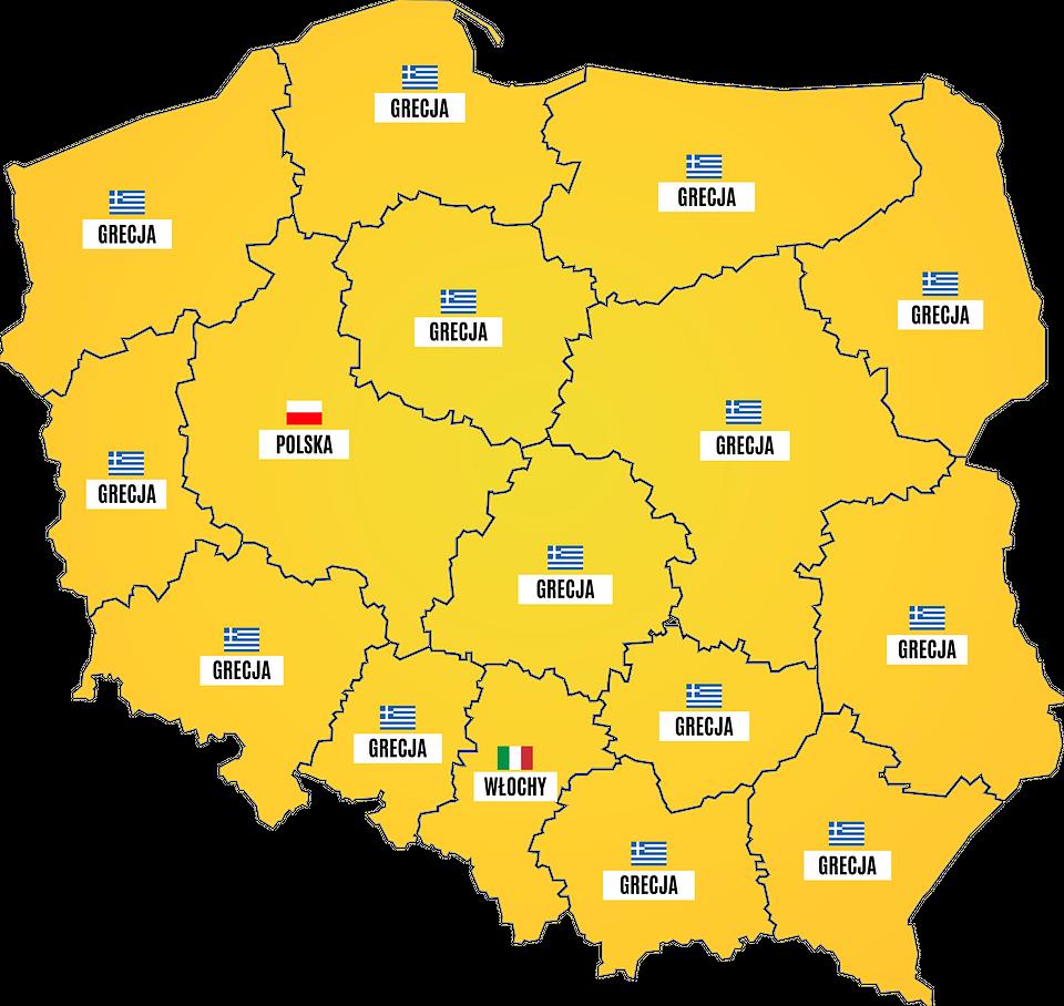 Najpopularniejsze wakacyjne kierunki w poszczególnych regionach Polski w lipcu (Wakacje.pl)