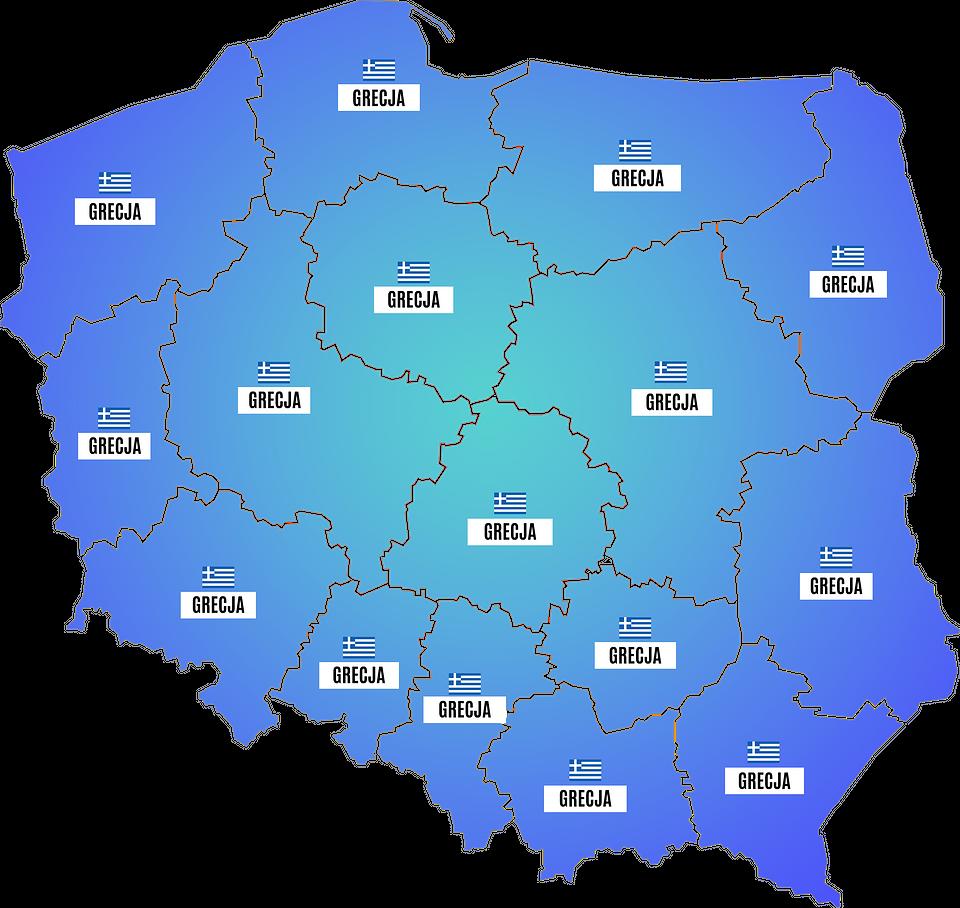 Najpopularniejsze wakacyjne kierunki w poszczególnych regionach Polski w sierpniu (Wakacje.pl)