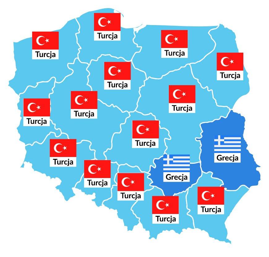 Najpopularniejsze wakacyjne kierunki w poszczególnych regionach Polski (Wakacje.pl)