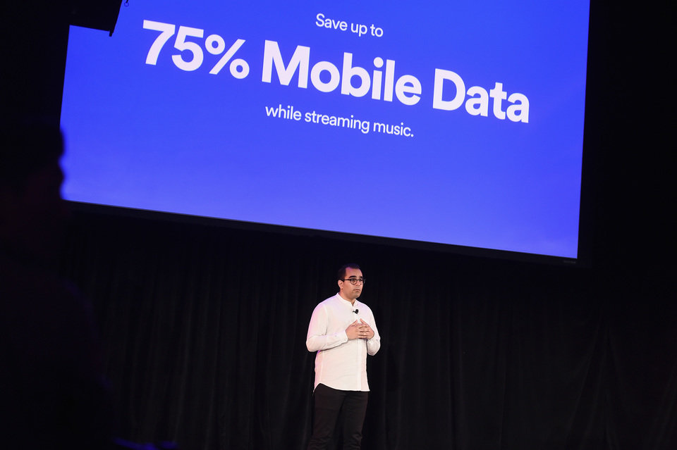 Spotify's Vice President of Growth Babar Zafar demos Spotify's new new ad-supported mobile version at a news conference in New York(1).JPG