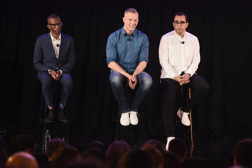 Spotify's Gustav Söderström, Troy Carter and Babar Zafar answer questions during Spotify's unveiling of its new ad-supported mobile version at a news conference in New York. .JPG