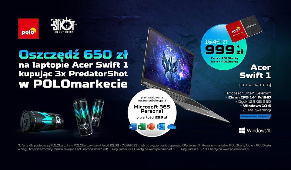 Oszczędź 650 zł na zakup laptopa Acer Swift 1 w POLOmarket