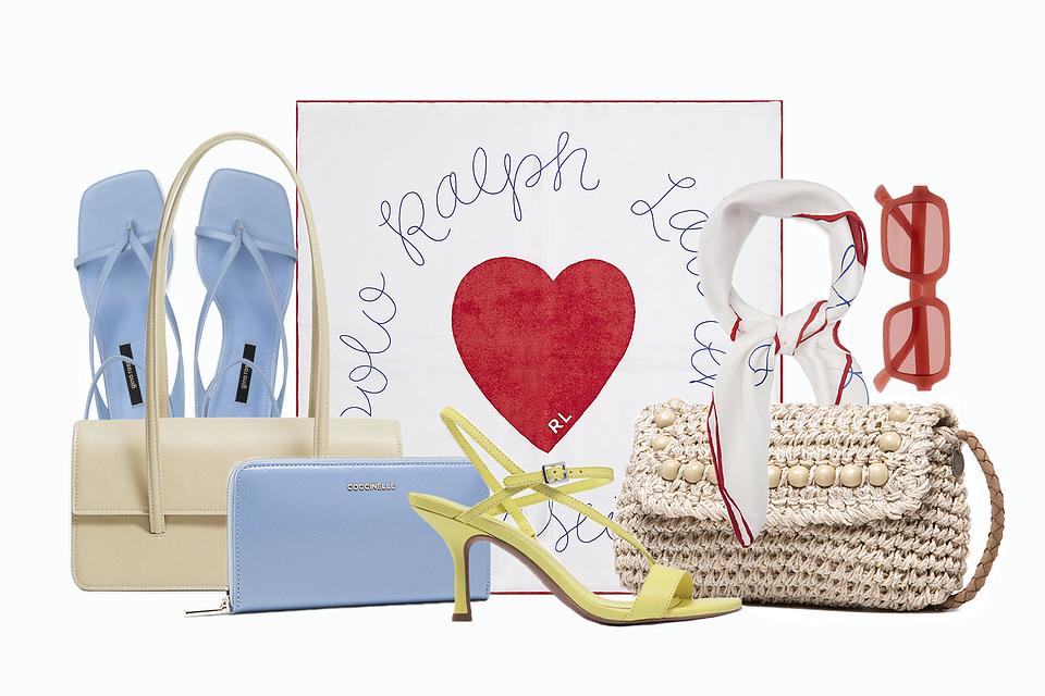 Od lewej: sandały Gino Rossi, torebka Mango, portfel Coccinelle, sandały MICHAEL Michael Kors, torebka Pepe Jeans, chusta Polo Ralph Lauren, okulary Mango
