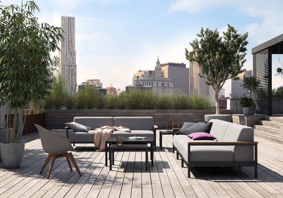 Sofa ogrodowa Rome (3 moduły: 2x300, 310), cena 16.690,-<br>Sofa ogrodowa Rome (2 moduły: 300), cena 11.690,-<br>Stolik kawowy ogrodowy Rome (mniejszy), cena 1.659,-<br>Stolik kawowy ogrodowy Rome (większy), cena 2.039,-<br>Krzesło wypoczynkowe Adelaide (do użytku wewnątrz i na zewnątrz), cena 1.139,-