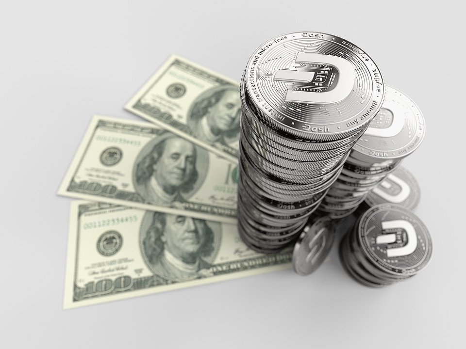 Dash Coins Tall Stack US Dollar Background.jpg