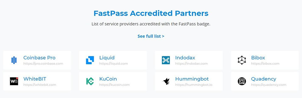 Full list of FastPass Accredited Partners available at: https://www.dash.org/fastpass-participants/