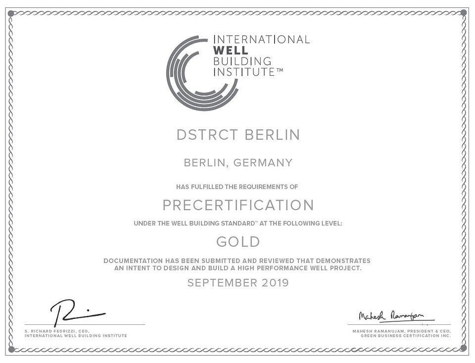 WELL Vorzertifikat für DSTRCT.Berlin