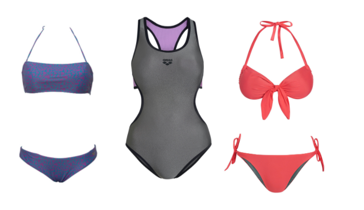 Links: ALLOVER BANDEAU TWO PIECE - Maxfit - 39,95 € Mitte: DUO REVERSIBLE RACER ONE PIECE - Maxfit - 44,95 € Rechts: SOLID BANDEAU- TWO PIECE - Maxfit- 39,95 €