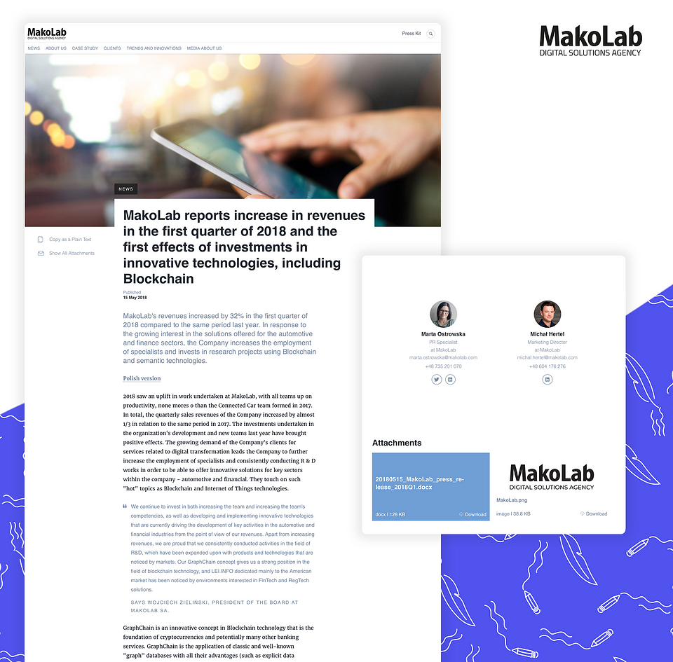 Attachments added to press releases from MakoLab