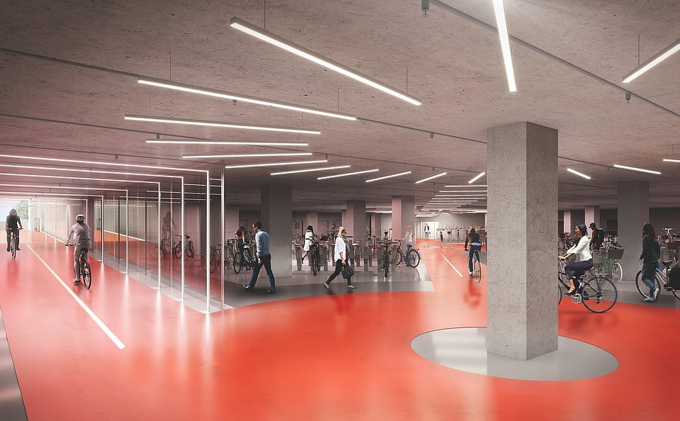 Cycle garage aspires to become the cyclist hub offering space for 800 bikes, maintenance space, dedicated parking section for e-bikes and charging stations.