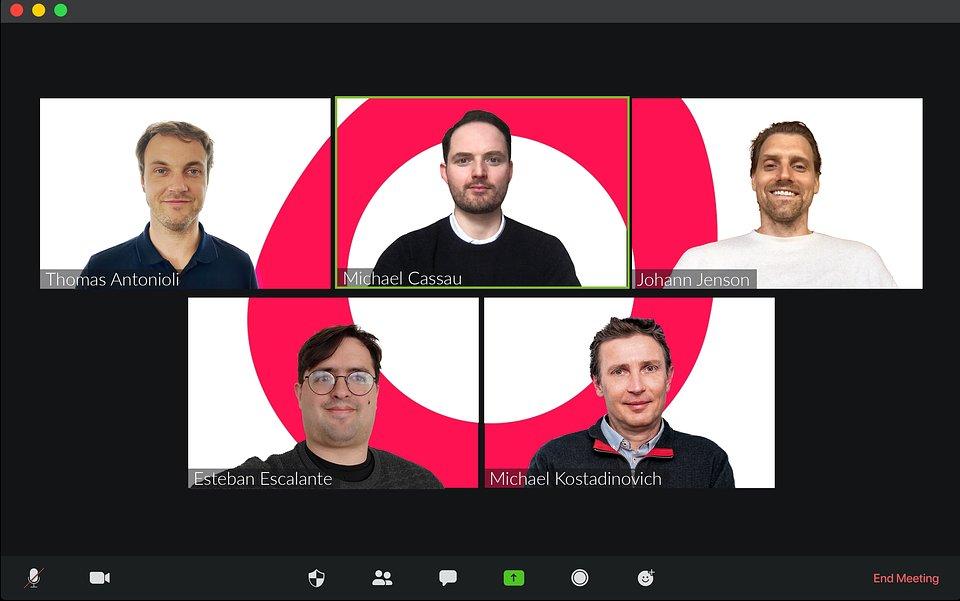 Grover's executive team. Top row, from left: Thomas Antonioli (CFO), Michael Cassau (CEO & Founder), Johann Jenson (CPO). Bottom row, from left: Esteban Escalante (CCO), Michael Kostadinovich (CTO).