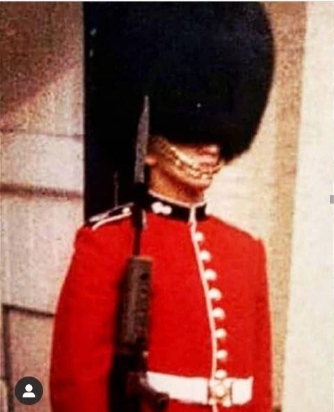 Guardsman. Robin as a young soldier on duty at Windsor Castle