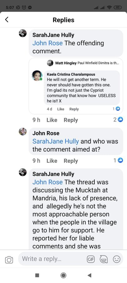 The Facebook comment that caused Kaela's arrest in Cyprus
