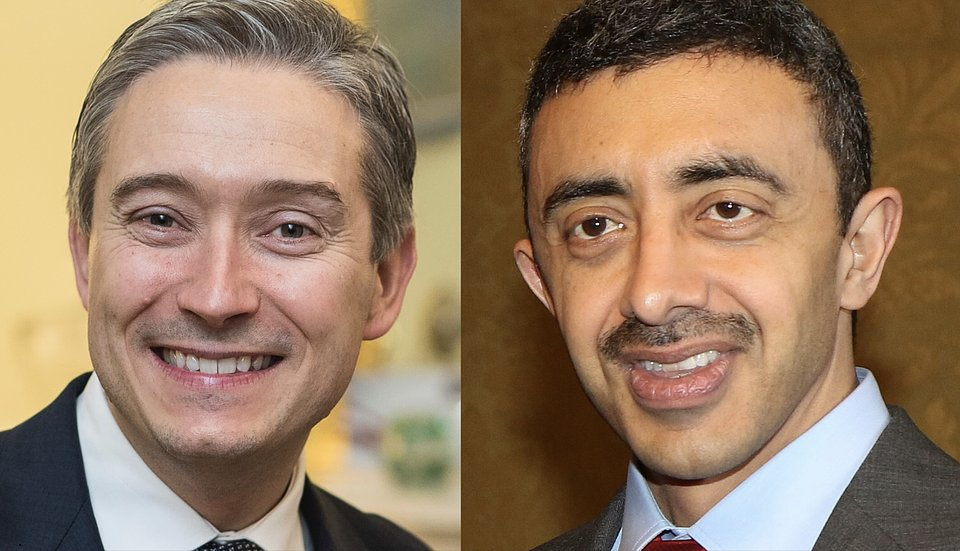 Francois-Phillippe Champagn, Canada's former minster of foreign affairs and his counterpart in the UAE, HH Sheikh Abdullah Bin Zayed Al Nahyan.
