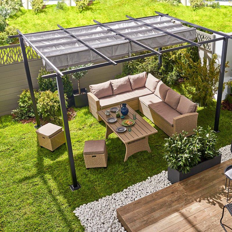 Pawilon ogrodowy Barnum 4 x 3 m aluminium_1498zł Castorama.tif