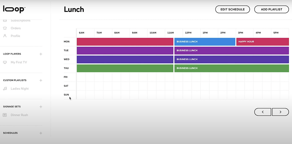 Loop's scheduling feature makes it easy to automate playlists.