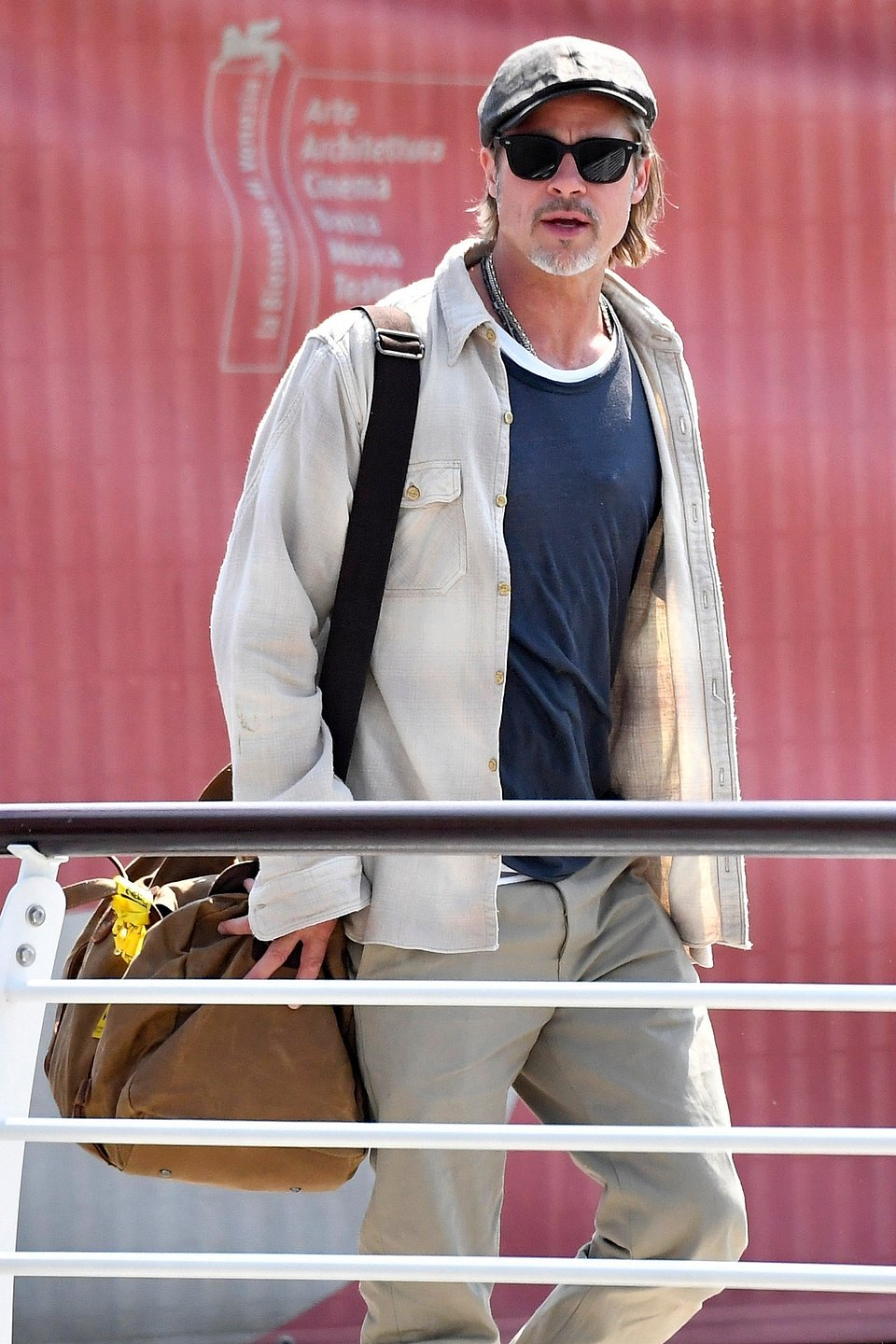 Actor Brad Pitt Mango shirt- Rights from 28082019 PR+SM BackGrid.  Venice Film Festival 27th08.jpg