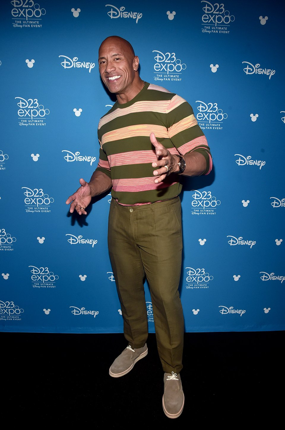 Actor Dwayne Johson trousers - Rights from 28082019 PR+SM Getty).  Pictured at Disney23 Expo in LA on 23rd august.jpg