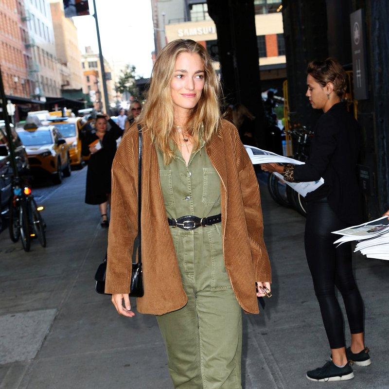 Sofia Sanchez de Betag in mango jumpsuit, boots & belt NYFW.JPG