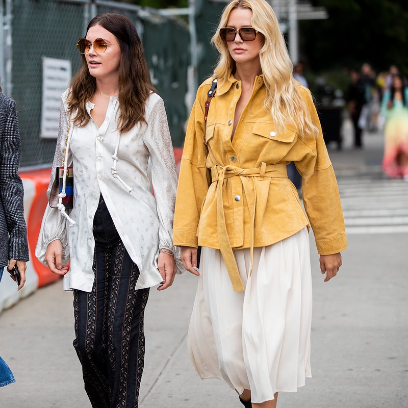 Meagan Adelaide in yellow suede  jacket during - Rights from 17092019 PR+Social Media GettyImages. Pictured during NYFW (Gabriella Hearst).jpg