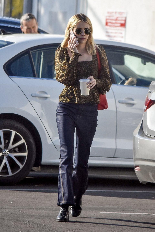 Emma Roberts wearing Mango  leopard-print blouse.jpg