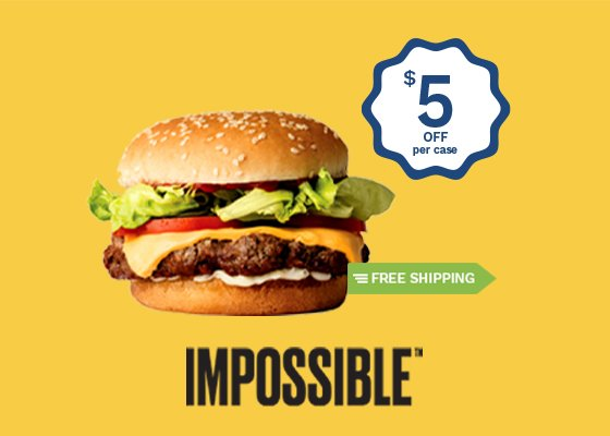 Save $5 on a CASE of Impossible Burger + FREE SHIPPING