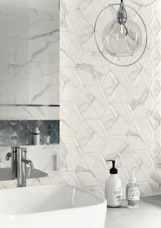 Morning-Bianco-struktura-25x75_Silver-Heksagon-17,1x19,8_Morning-Bianco-Heksagon_Morning-Bianco-kształtka-5x25_CALACATTA-mat-59,8x59,8_detal2.jpg
