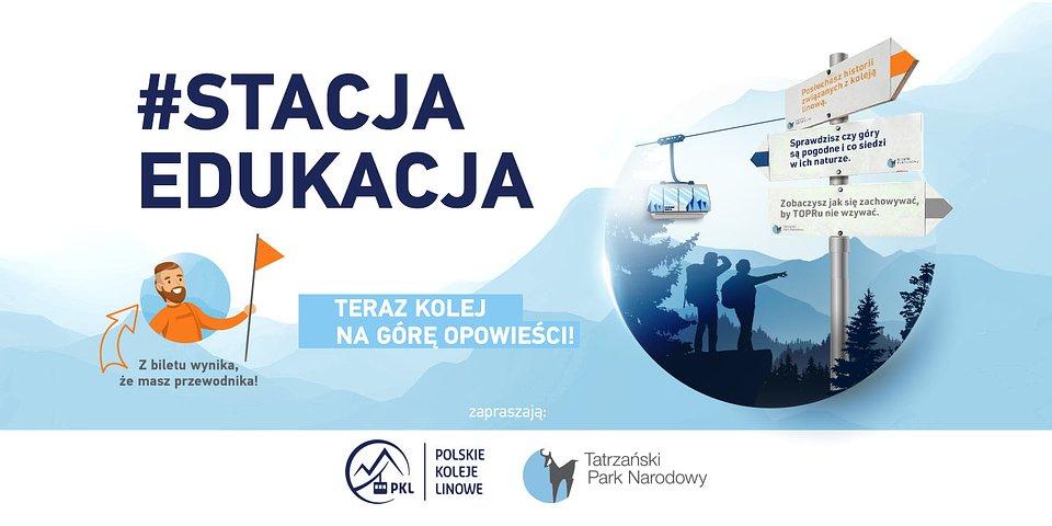 Akcja edukacyjna PKL i TPN dla wyjeżdzających koleją linową na Kasprowy Wierch.