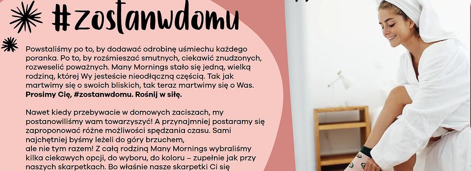 Dedykowana strona firmy Many Mornings odpowiadająca na kampanię #zostanwdomu  (https://manymornings.com/zostanwdomu/  )