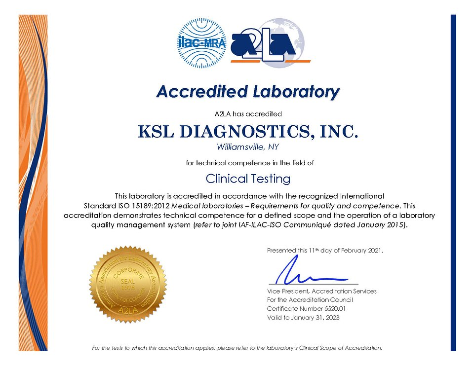 KSL's ISO 15189:2012 Medical laboratories — Requirements for Quality and Competence certificate
