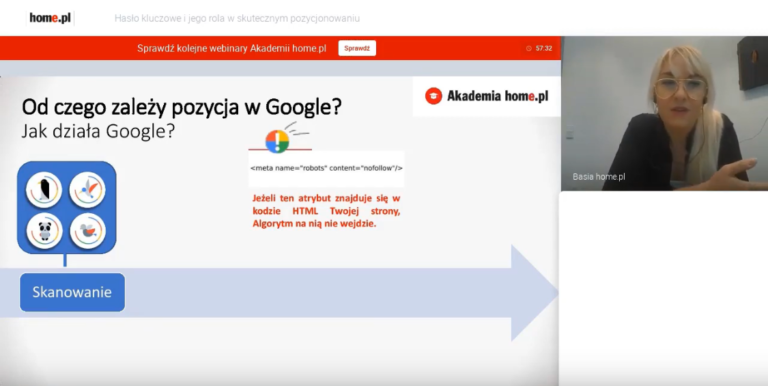 Przykład szkolenia internetowego o pozycjonowaniu stron w Google – Akademia home.pl