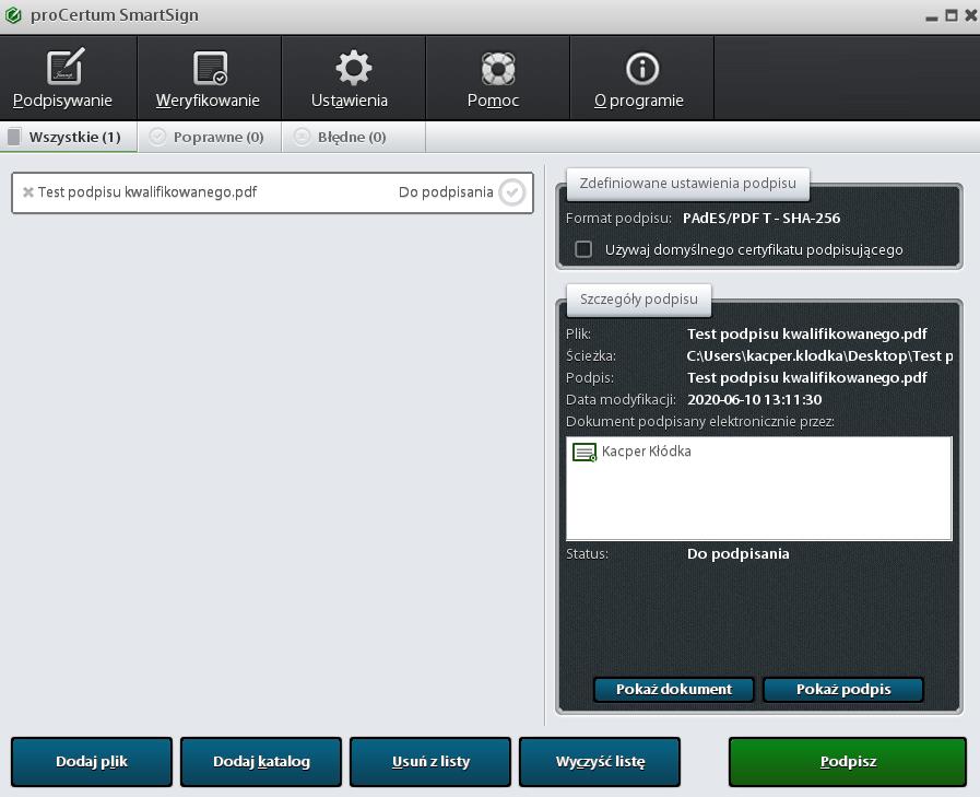 Widok interfejsu aplikacji ProCertum SmartSign.