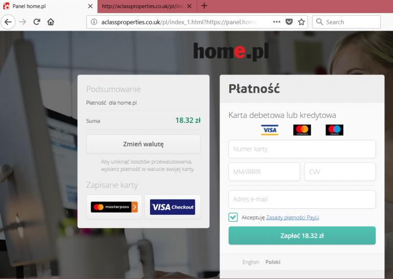 Przykład sfałszowanej strony płatności elektronicznych, która próbuje wyłudzić dane karty płatniczej.