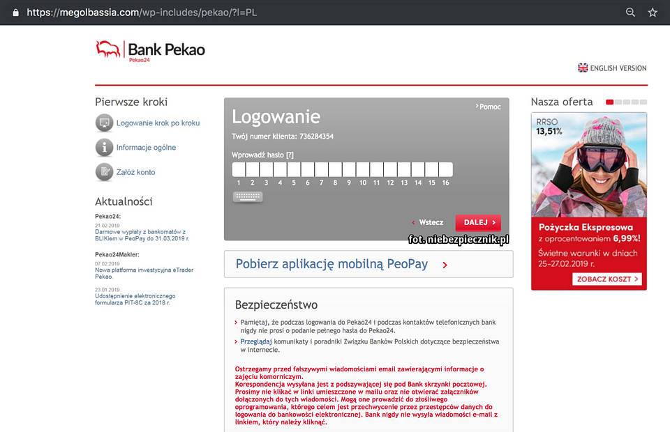 Przykład fałszywej strony banku Pekao. Źródło – niebezpiecznik.pl