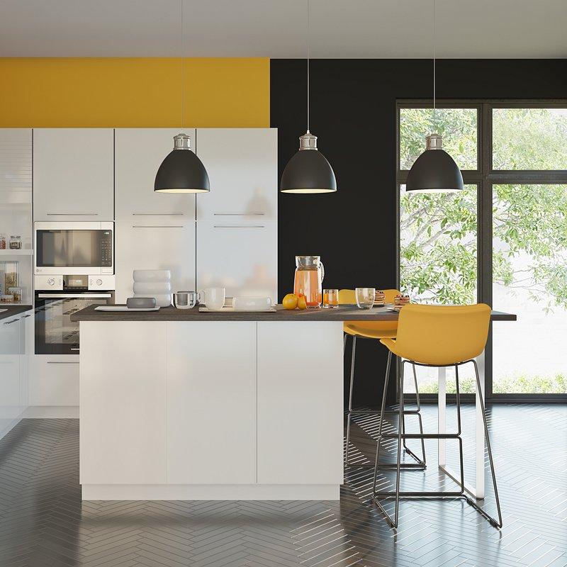 Kuchnia Qubik front SALSA biały połysk, blat ciemny beton.tif