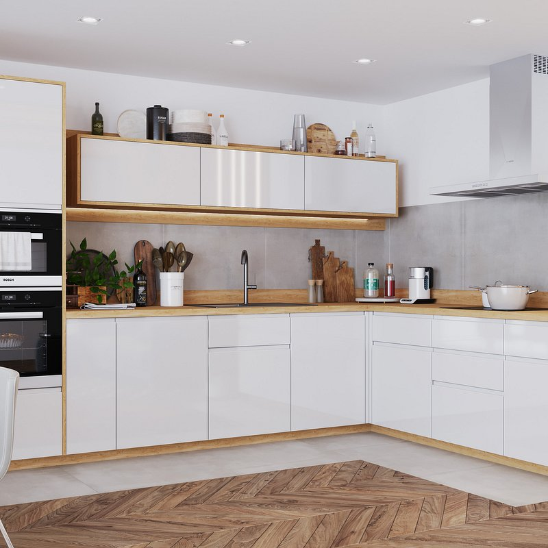 Kuchnia Qubik front PIANTA biały wysoki połysk, blat dąb hamilton naturalny.jpg