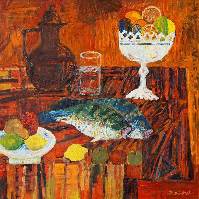 Jan Szancenbach (1928 - 1998) Martwa natura z rybami, 1984 r. olej na plotnie.jpg