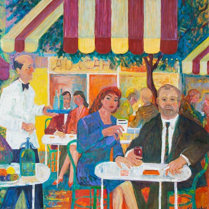 Jan Szancenbach (1928 - 1998) Autoportret w kawiarni na Montmartre, 1991 r. olej na plotnie.jpg