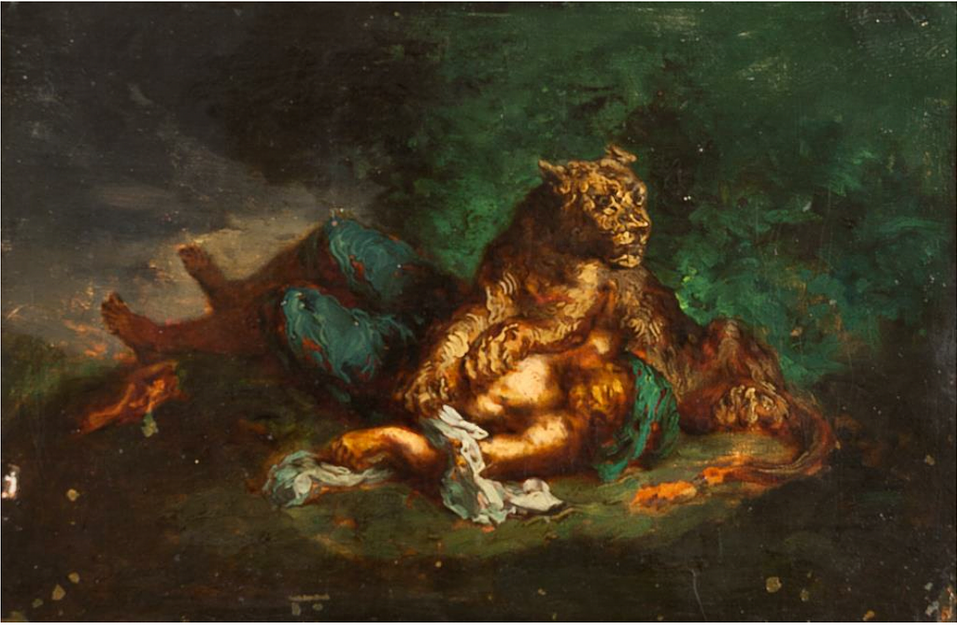 Eugene Delacroix 1800 – 1863 - Lioness resting on the body of an Arab