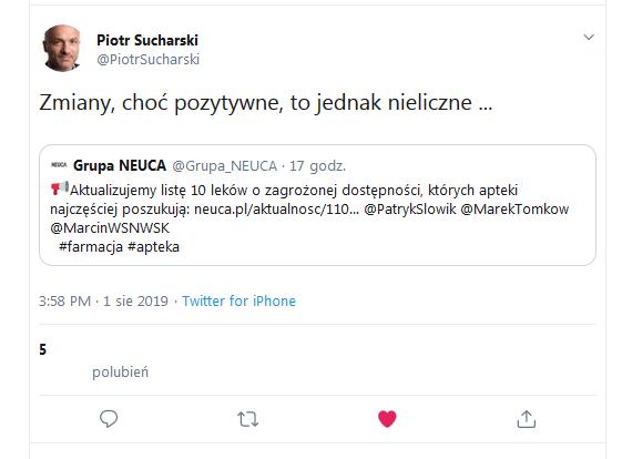 Tweet Prezesa NEUCA S.A.