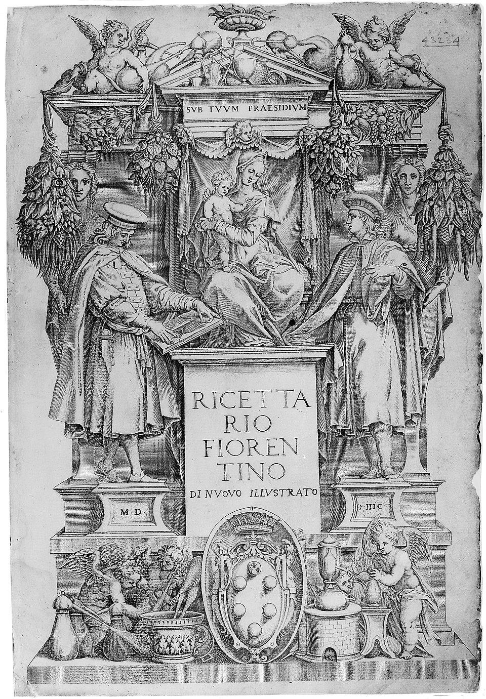 Ricettario Fiorentino, 1597: strona tytułowa / Wikipedia: Wellcome Library, London