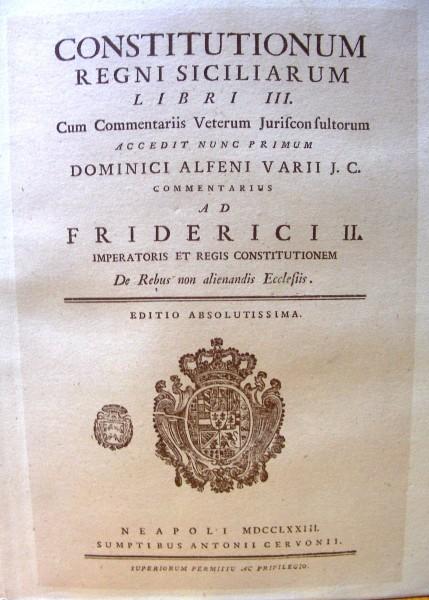 Constitutionum Regni Siciliarum Libri III - Wikipedia