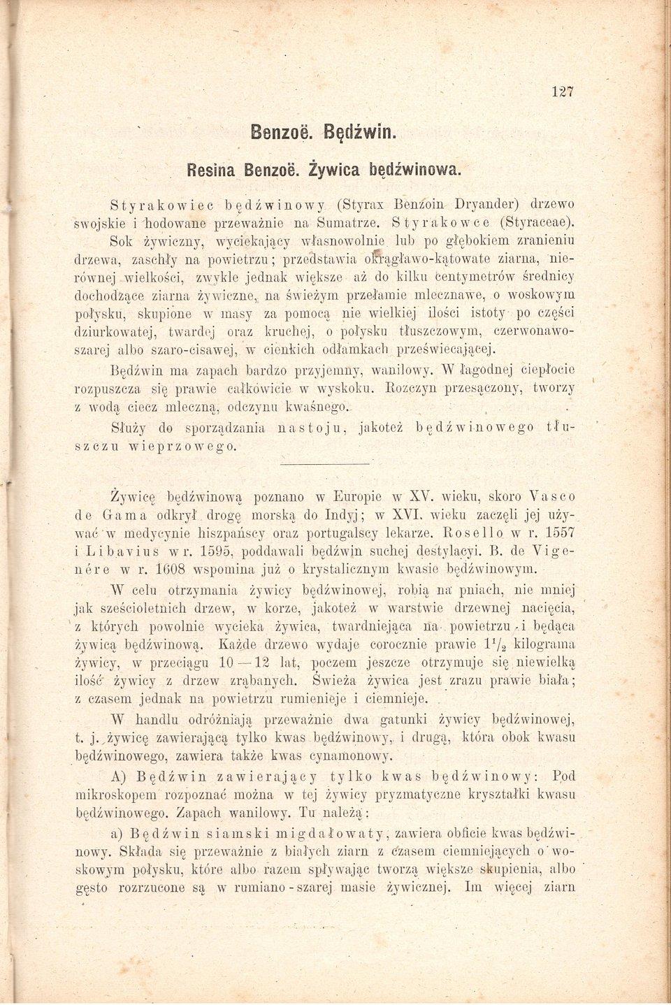 Monografia żywicy bezoesowej w ''Komentarzu...'' Wilhelma Zajączkowskiego. Ze zbiorów Andrzeja Skowrońskiego