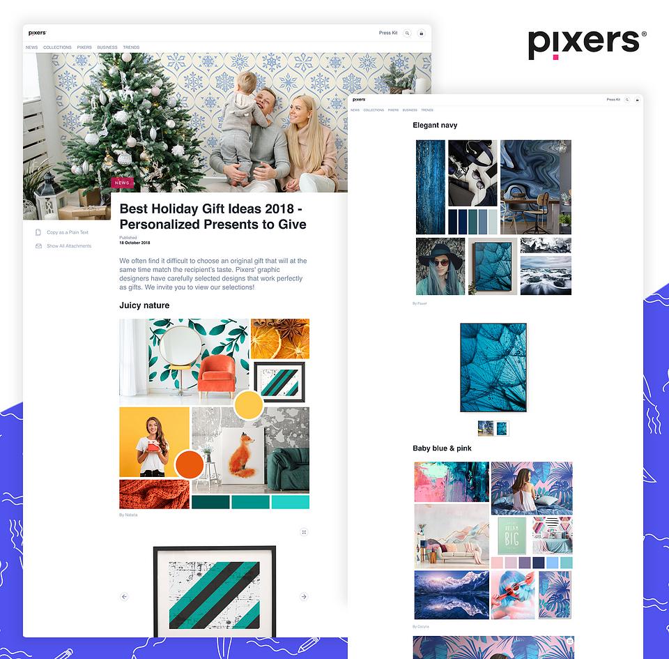 Przykładowy post z galerią grafik na Brand Journalu Pixers