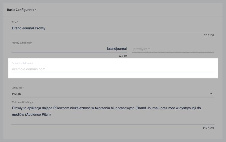 Stories -> Brand Journals -> Settings