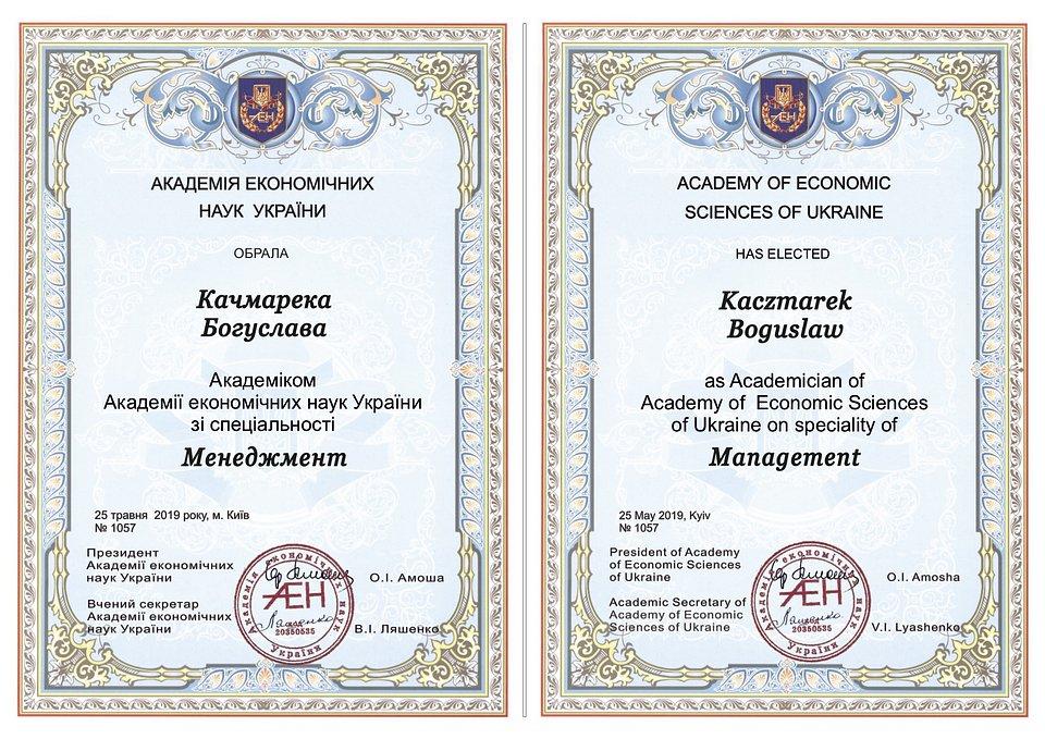 Tytuł członka Akademii Nauk Ekonomicznych Ukrainy w dyscyplinie Zarządzanie dla Pana Profesora Bogusława Kaczmarka.