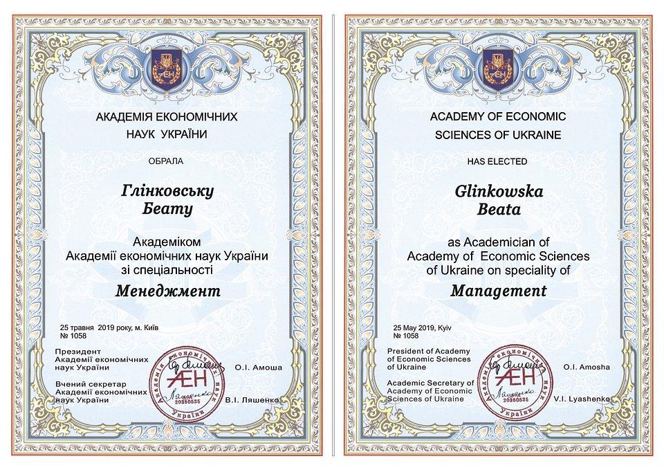 Tytuł członkini Akademii Nauk Ekonomicznych Ukrainy w dyscyplinie Zarządzanie dla Pani Profesor Beaty Glinkowksiej-Krauze.