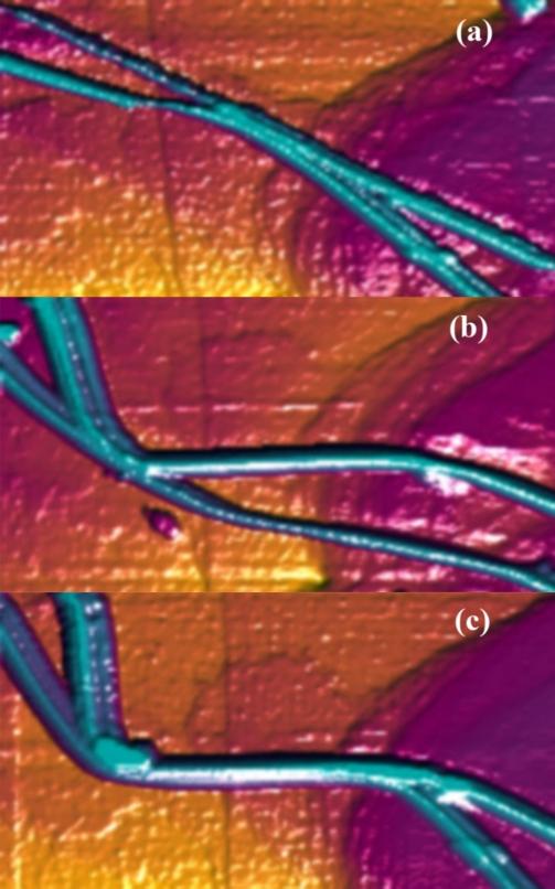 Przykład manipulacji wiązkami nanorurek węglowych wykonany przy użycia skaningowego mikroskopu tunelowego (foto P.Kowalczyk)